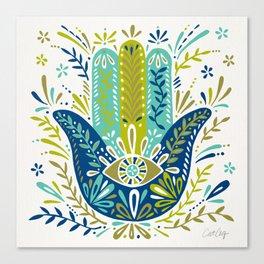 Hamsa Hand – Lime, Turquoise & Navy Palette Canvas Print