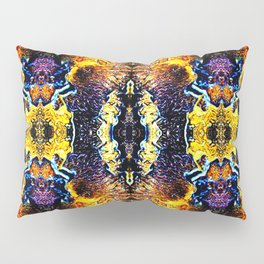 Mystic Yellow Blue Ornament Pattern Pillow Sham