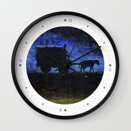 Carriage at sunset Wall Clock
