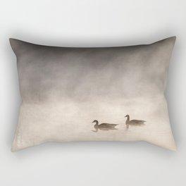 Foggy ducks on a lake Rectangular Pillow