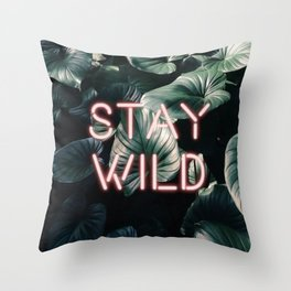 Stay Wild ( Contrast neon- plants ) Throw Pillow