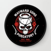 sons of anarchy Wall Clocks featuring Wayward Sons by Manny Peters Art & Design
