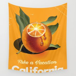 California Orange Retro Style vacation poster Wall Tapestry