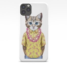 Portrait of Cat in summer shirt with Hawaiian Lei. iPhone Case