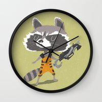 rocket raccoon Wall Clocks featuring Rocket Raccoon by Rod Perich