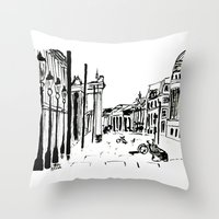 cityscape Throw Pillows featuring CITYSCAPE by hawwa a