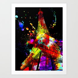 Tour Eiffel Watercolor Grunge Art Print