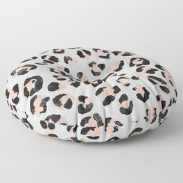 Jungle Leopard Print Burnt Coral & Ultimate Gray _Oil Painting Pattern Floor Pillow