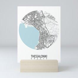 Thessaloniki City Map of Greece - Circle Mini Art Print