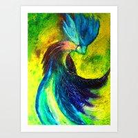 Bird in Ocean of Color. Art Print