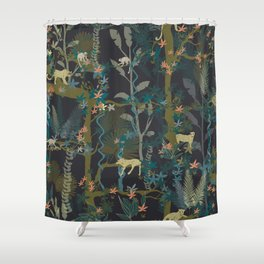 Tropical wild animals in the jungle Shower Curtain
