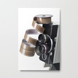 Retro movie camera and reel film Metal Print