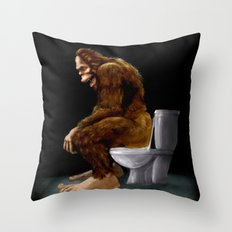 Bigfoot breaks into some Dude's Cabin and Totally takes a fat Dump in his toilet Throw Pillow