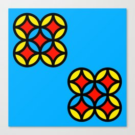 Colored Circles on Light Blue Board Canvas Print