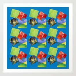 Painted Squares Jiggle - Blue Art Print