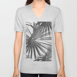 Grey on White Tropical Vibes  Beach Palmtree Vector Unisex V-Neck