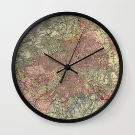 Vintage Geological Map of London (1883) Wall Clock