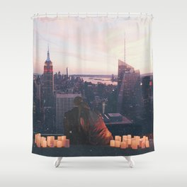 new york city skyline and couple-romance on the rooftop Shower Curtain