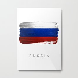 Russia flag map country Metal Print