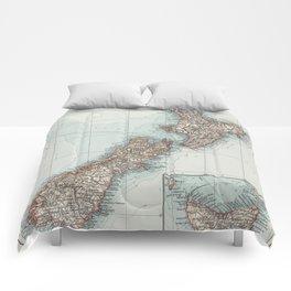 Vintage Map of New Zealand (1900) Comforters