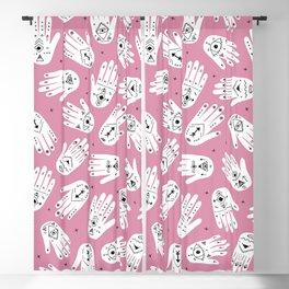 Indian summer bohemian hamsa hand of fatima pattern pink Blackout Curtain
