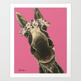 Pink Donkey Art, Flower Crown Donkey Art Art Print