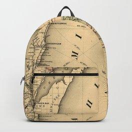 Vintage Map of Lake Michigan (1876) Backpack