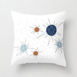 Atomic Stars Blue & Orange Throw Pillow