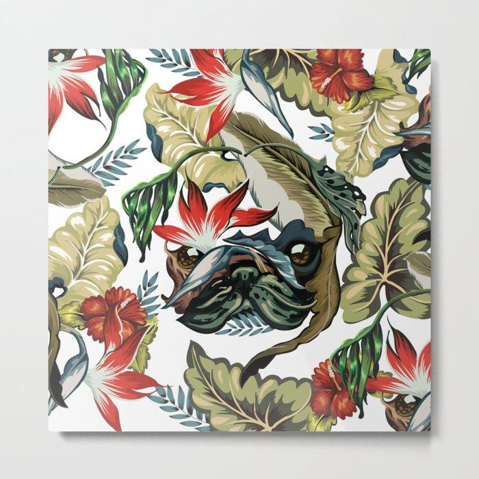 Tropical Pug Metal Print