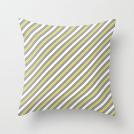 Grey and Yellow Stripe Pattern Throw Pillow