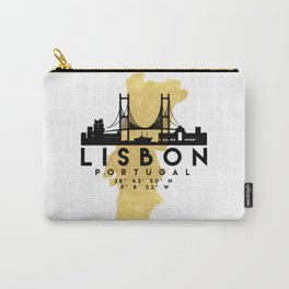 LISBON PORTUGAL SILHOUETTE SKYLINE MAP ART Carry-All Pouch