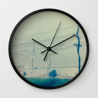 kansas city Wall Clocks featuring Kansas City Rain by Jason Simms