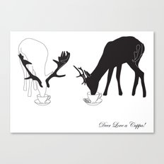 Deer love a Cuppa! Deer products, woodland illustration, animal lovers, deer gifts, Canvas Print