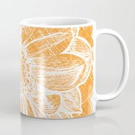 White Flower On Warm Orange Crayon Coffee Mug