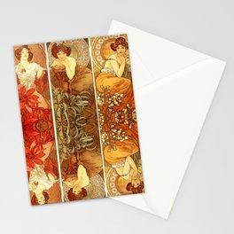 "Alphonse Mucha ""The Gem Series - Ruby, Amethyst, Emerald, Topaz"" Stationery Cards"