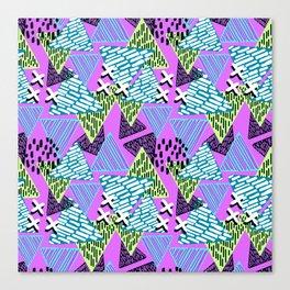 Vintage Retro 1980s 80s Neon Geometric Triangular New Wave Print Canvas Print