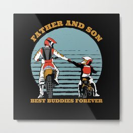 Motorbike Father And Son Gift Metal Print
