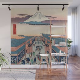 Mount Fuji above Ancient Street Ukiyo-e Japanese Art Wall Mural