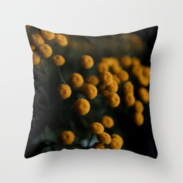 mustard yellow flowers Throw Pillow