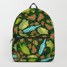 Tropical Neon Pattern: Message in a Bottle Backpack