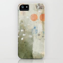 Olive Green Abstract with Orange Circles: Scribble Series 05 iPhone Case