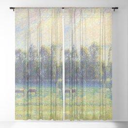 "Camille Pissarro ""Pâturage, coucher de soleil, Eragny""(""Pasture, sunset, Eragny"") Sheer Curtain"