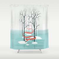 spirit Shower Curtains featuring Forest Spirit by Freeminds
