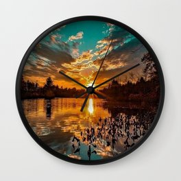 Sunset over Moswansicut Pond, North Scituate, Rhode Island Wall Clock
