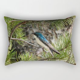 Blue Swallow Photography Print Rectangular Pillow