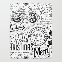 Black and White Christmas Typography Design Poster