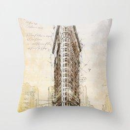 Flat Iron Building, New York, USA Throw Pillow