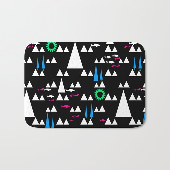 Ethnic simple pattern . Black . Bath Mat