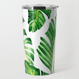 Banana Leaves pattern in watercolor Travel Mug