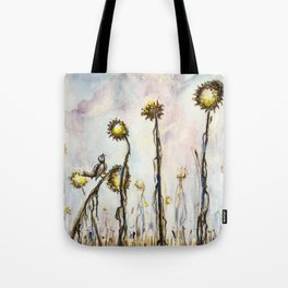 Bird Sings the Sunflower Blues Tote Bag